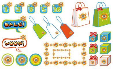 sunny sales shopping icons - illustrated objects and icons