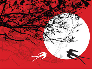 silhouette branches, moon and two swallows - illustrated art