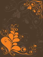 orange grunge swirly on brown - illustrated background