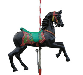 Black Merry-Go-Round Horse with clipping path