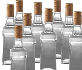 Bottles of vodka on white background