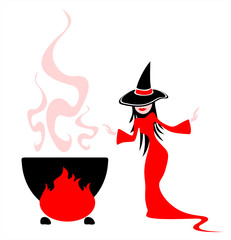 Witch cooks a potion