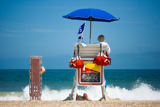 Lifeguards watching beach