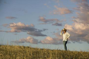 Western Woman Against a Cloudy Sky