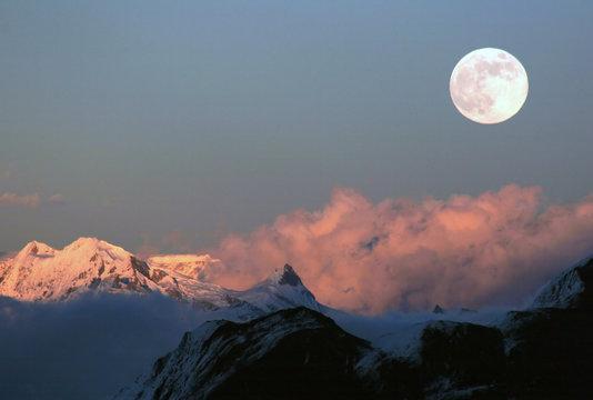 Moonrise over the Bhutan Himalaya