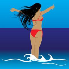 women look at sea