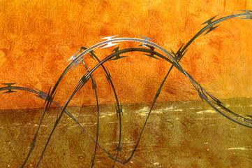 Razor Wire with Grunge Overlay