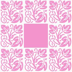 cadre carré rose et blanc