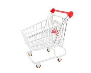 Shopping cart over white