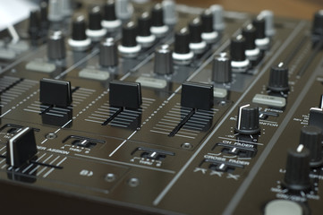 close up mixing equipment buttons detailed audio tool