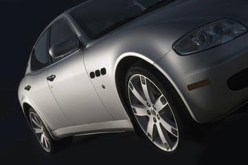 Silver powerful sports car