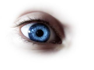 childs blue eye wide