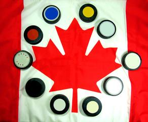 Canadian Flag with Hockey pucks