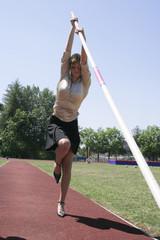 business woman high jump