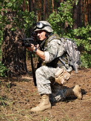 Soldier with M4 Carbine aiming