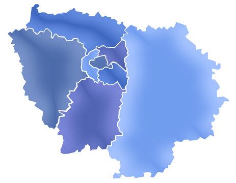 Carte Ile-de-France Camaieu Bleu