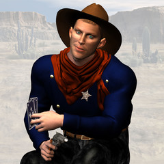Sheriff #03, wild west series, with clipping path