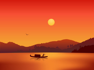 Illustration of river sunset
