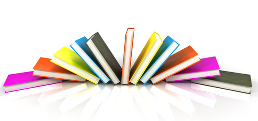 colored books isolated on glossy white #5