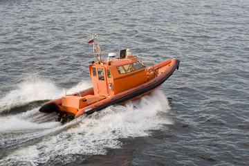 Orange speed-boat