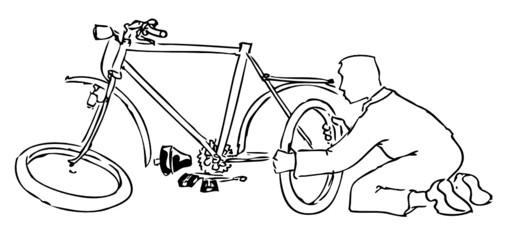 Fahrradreparatur outline