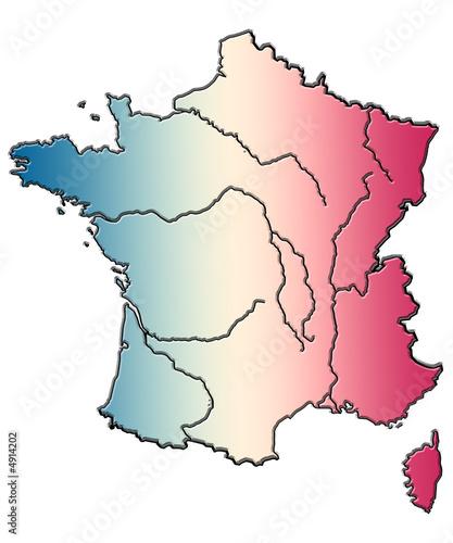 """""""carte de France, Corse, fleuves, bleu blanc rouge"""" photo libre de droits sur la banque d'images ..."""