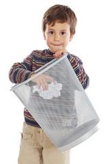 Boy with wastebasket