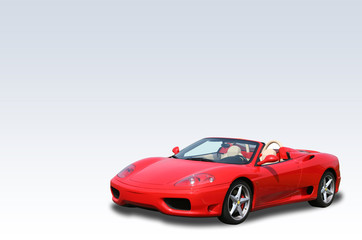 Red Italian convertible sports car on a gradient background
