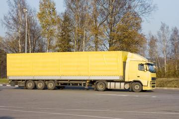 "blank yellow semi trucktor trailer truck of ""Trucks"" series"
