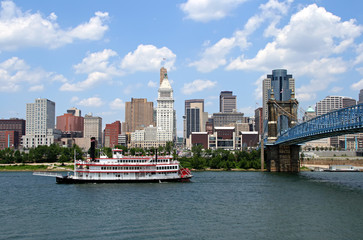 Cincinnati Skyline and Riverboat