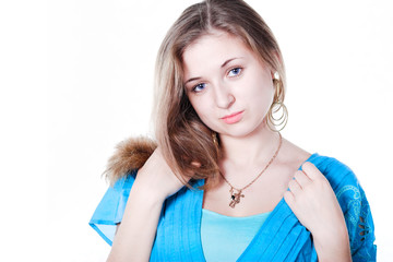 smiling beautiful girl in blue dress