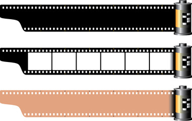 Three different empty film frames