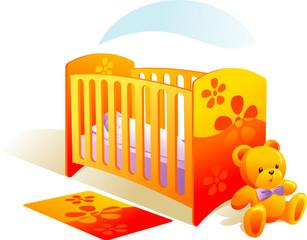Nursery, baby in bed, teddy bear, carpet. Vector illustration