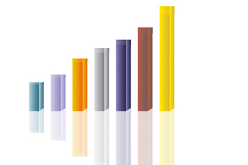 Abstract colorful 3D chart columns against white background