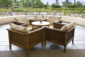 Coffee table in the open air