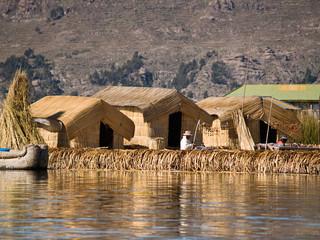 Floating Uros Island on Lake Titicaca in Peru