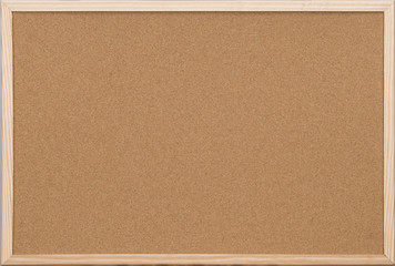 blank office cork board with wooden frame