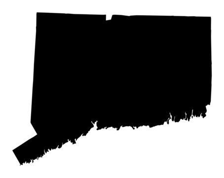 Detailed b/w map of Connecticut, USA