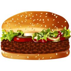 Big, vector, american hamburger on the white