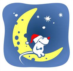 christmas mouse and moon