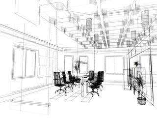 the modern office sketch (3D)
