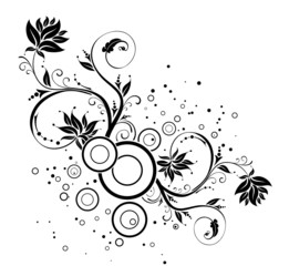 Flower background with circles, element for design, vector