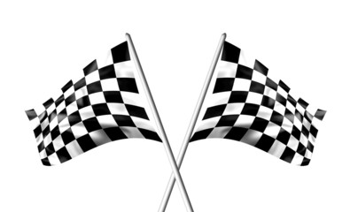 Rippled black and white crossed chequered flags