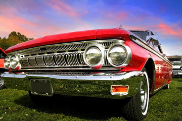 Photo on textile frame Old cars Red Muscle Car