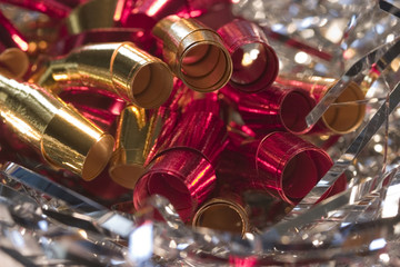 Large gold and red curly ribbons for the holidays
