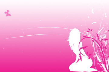 pink background with woman's silhouette