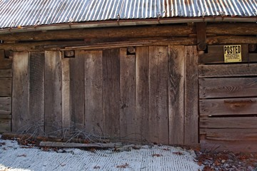 Old Brown Wood Plank Barn
