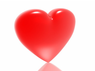 Red heart isolated in white background