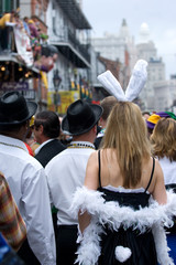 Famous carnival crowd in French Quarter, New Orleans