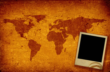 world map and photo frame